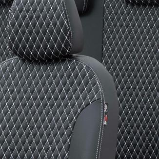 Otom Alfa Romeo 147 2001-2009 Özel Üretim Koltuk Kılıfı Amsterdam Design Deri Siyah - Beyaz - Thumbnail