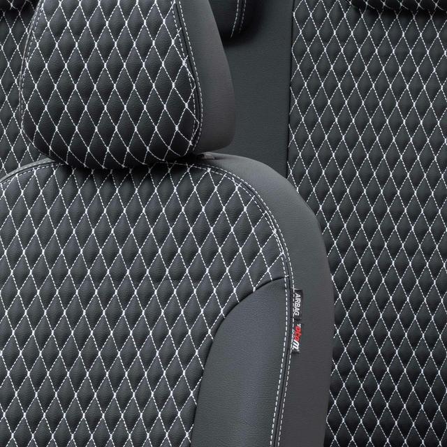Otom Alfa Romeo 147 2001-2009 Özel Üretim Koltuk Kılıfı Amsterdam Design Deri Siyah - Beyaz